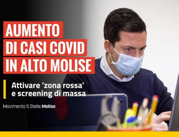 Aumento di casi Covid in alto Molise, attivare 'zona rossa' e tamponi su tutti